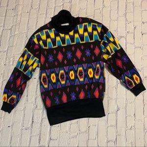 Vintage Abstract Cowl Neck Aztec Sweatshirt 1980's